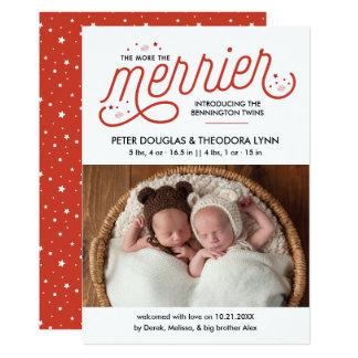 Plus le Noël plus Joyeux jumelle le faire-part