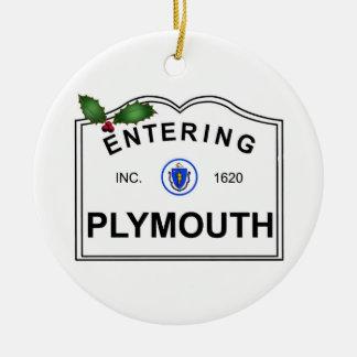 Plymouth MA Keramik Ornament