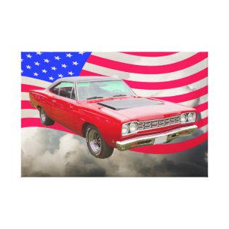 PlymouthRoadrunner 1968 und -amerikanische Flagge Leinwanddruck