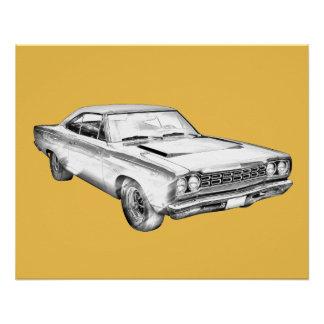 Plymouthroadrunner-Muskel-Auto-Illustration 1968 Poster