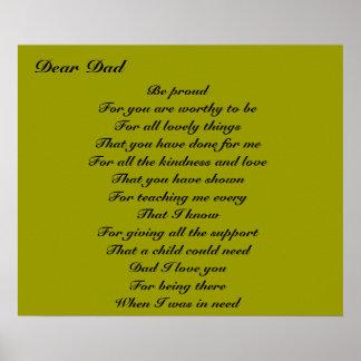 Poesie für Vatertagstribut Vati Plakat