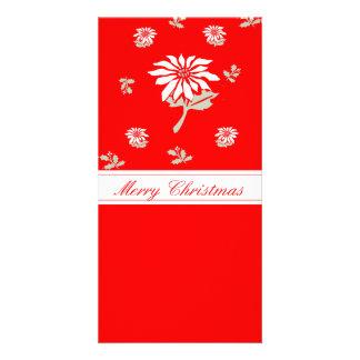 Poinsettia rouge de Noël Photocartes