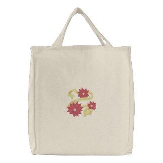 Poinsettia-Trio Bestickte Einkaufstaschen