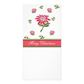 Poinsettia vintage et houx de Noël de style Photocartes Personnalisées