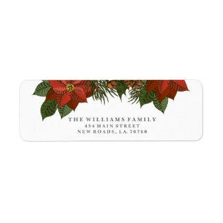 Poinsettia-Weihnachtsadressen-Etiketten
