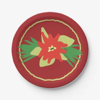 Poinsettia-Weihnachtsflora-Papier-Teller Pappteller 17,8 Cm