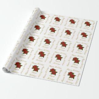 Poinsettiagoldweihnachtsfeiertag Muster Geschenkpapier