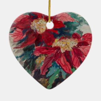 Poinsettias in einem Brown-Vase Keramik Herz-Ornament