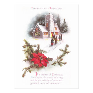 Poinsettias und Land-Kirchen-Vintages Weihnachten Postkarte