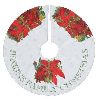 Poinsettias und weiße Schneeflocken mit Text Polyester Weihnachtsbaumdecke