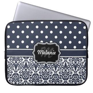 Point de polka décoré d'un monogramme de damassé d housses pour ordinateur portable