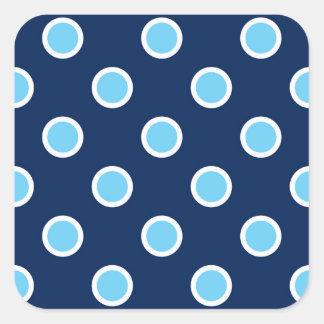 Pois bleu lumineux sur des joints d'enveloppe de sticker carré