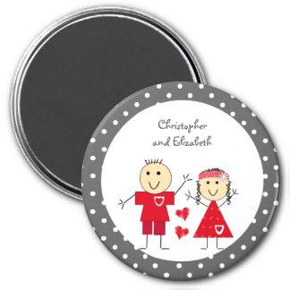 Pois d'aimant de Valentine gris et rouge Magnet Rond 7,50 Cm