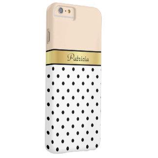Pois de pêche, blanc et noir de toile nommé fait coque iPhone 6 plus barely there