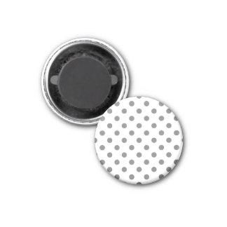 Pois grand - gris sur le blanc magnet carré 2,50 cm
