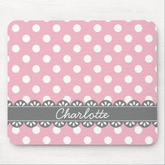 Pois rose à la mode et dentelle grise tapis de souris