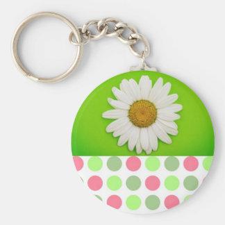 Pois vert de fleur porte-clé rond