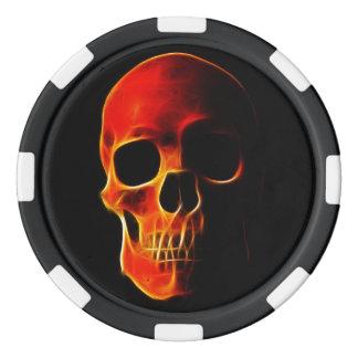 Poker bricht Schädel der Flammen-Schablone ab Poker Chip Set