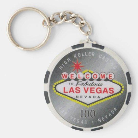 Poker-Chip Keychain Las Vegas hoher Rollen-$100 Standard Runder Schlüsselanhänger