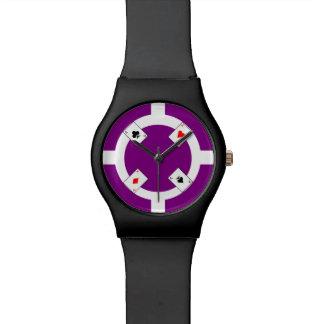 Poker-Chip - lila Uhr