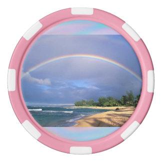 Poker-Chips mit einem Strand-Seiten-Regenbogen Poker Jetons