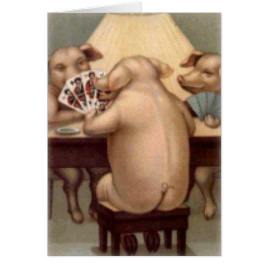 Poker, der Schwein-Karte (freien Raum, spielt) Grußkarte