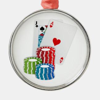 Poker-Karten und Chips Rundes Silberfarbenes Ornament