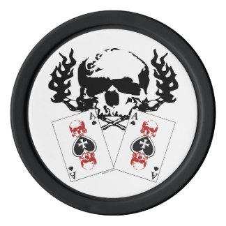 Poker-Schädel mit Assen Pokerchips