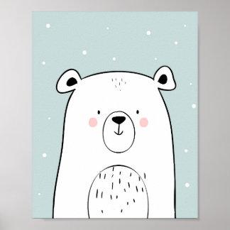 Polarer Bär Kinderzimmer-Wand-Kunst-Druck-Minze Poster