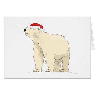 Polarer Bärn-Weihnachtsmannmütze-Weihnachtskarte Karte
