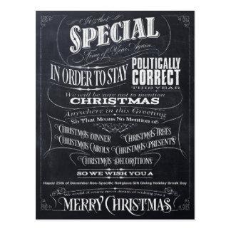 Politisch (herein) korrekte Kreide-Weihnachtskarte Postkarte