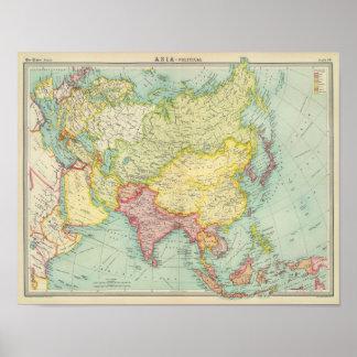Politische Atlaskarte Asiens Plakatdruck