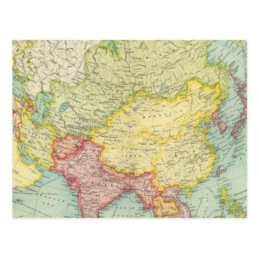 Politische Atlaskarte Asiens Postkarten