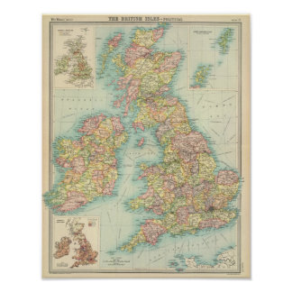 Politische Karte der britischen Inseln Poster