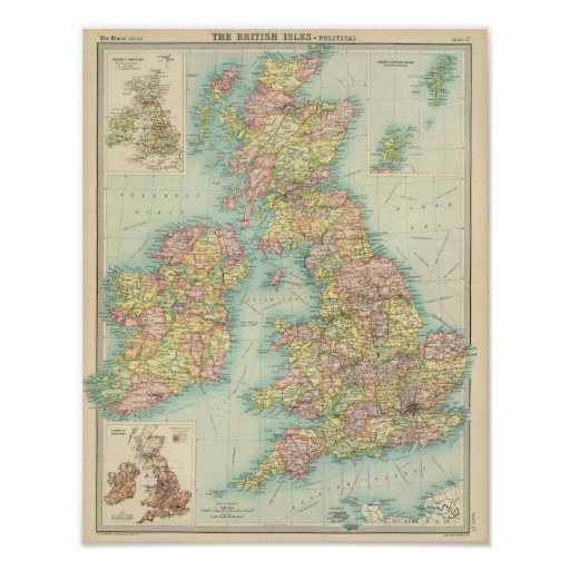 Politische Karte der britischen Inseln Plakat