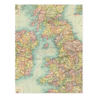 Politische Karte der britischen Inseln Postkarte