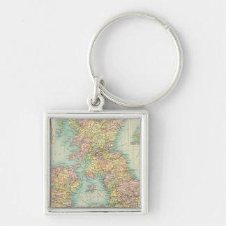 Politische Karte der britischen Inseln Silberfarbener Quadratischer Schlüsselanhänger