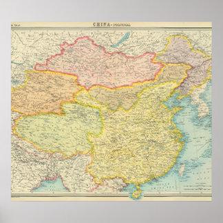 Politische Karte der China Posterdruck