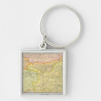 Politische Karte der China Silberfarbener Quadratischer Schlüsselanhänger
