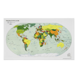 Politische Karte der Welt - 1998 Poster