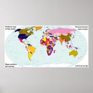 Politische Karte der Welt Poster