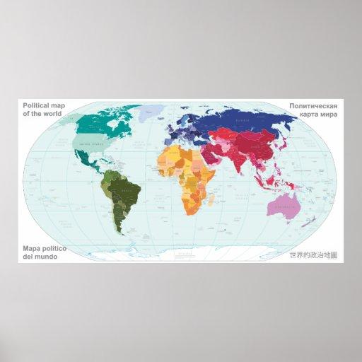 Politische Karte der Welt Posterdruck