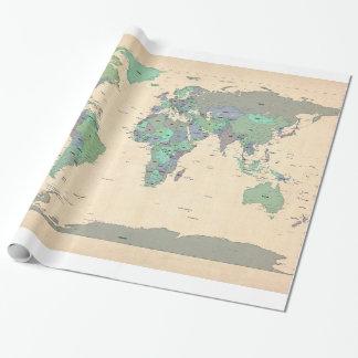 Politische Karte der Weltkarte Einpackpapier