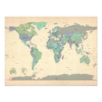 Politische Karte der Weltkarte Fotografischer Druck