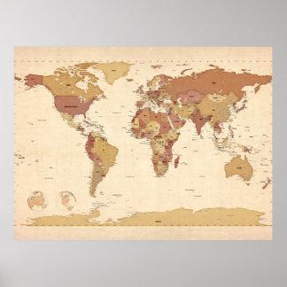 Politische Karte der Weltkarte Poster