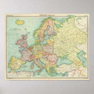 Politische Karte Europas Poster