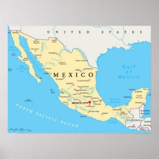 Politische Karte Mexikos Poster