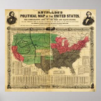 Politische Karte Reynolds der Vereinigten Staaten Plakatdrucke
