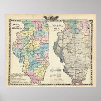Politische Karte von Illinois Poster