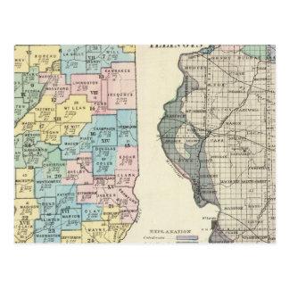 Politische Karte von Illinois Postkarte